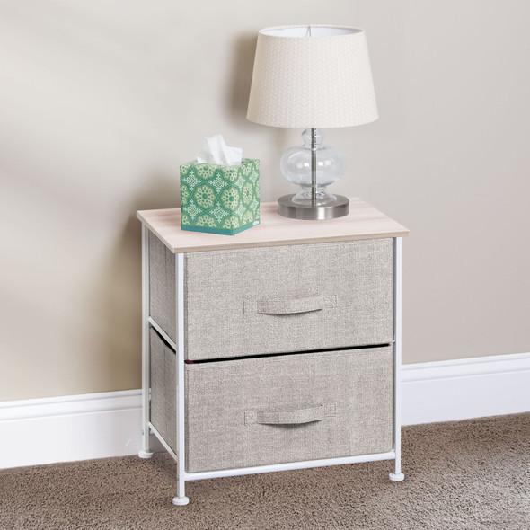 2 Drawer End Table Storage Organizer with Fabric Drawers