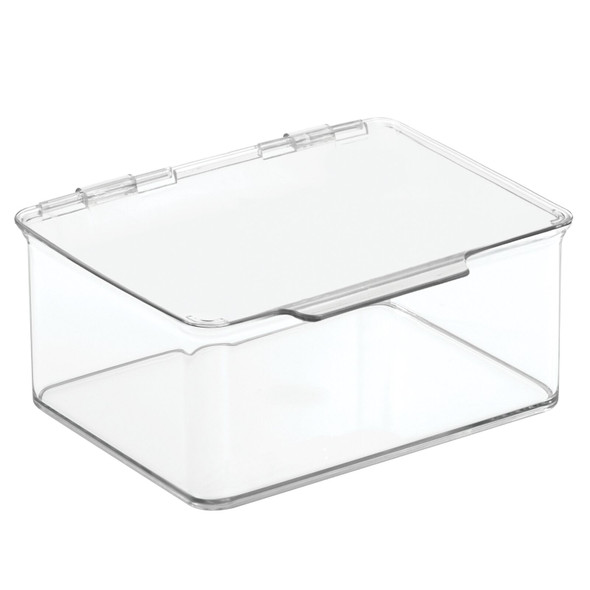 "Small Plastic Craft Supply Storage Bin Box with Hinged Lid - 5.5"" x 6.6"" x 3"""