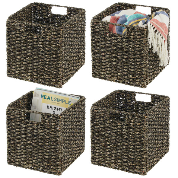 Natural Woven Seagrass Storage Cube Bins - 10.5""