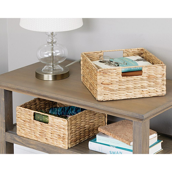 Natural Woven Hyacinth / Seagrass Storage Cube Basket - Pack of 2