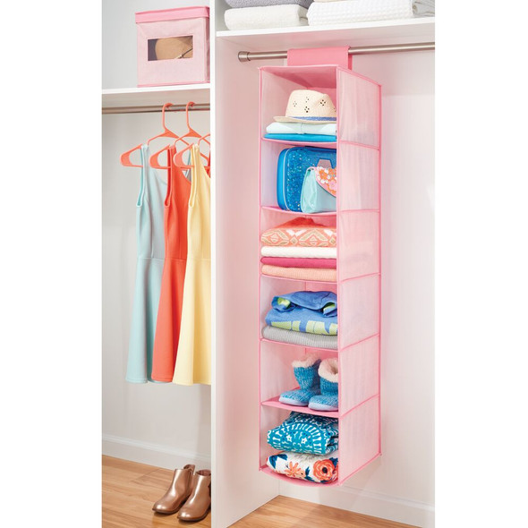 6 Shelf Fabric Kids Hanging Nursery Closet Organizer