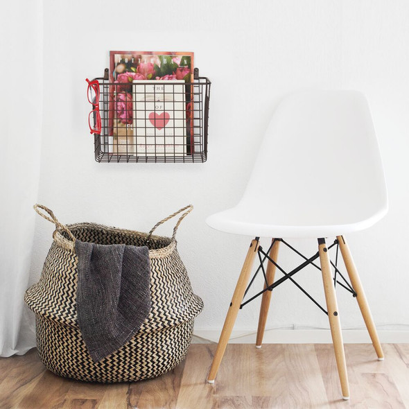 "Large Metal Wire Wall Mount Storage Basket - 6"" x 12"" x 8"""