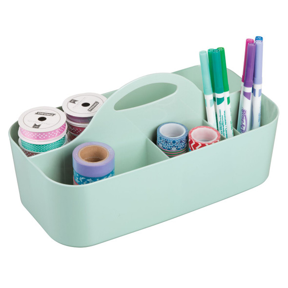 Large Plastic Craft & Sewing Storage Caddy Tote - 6 Sections