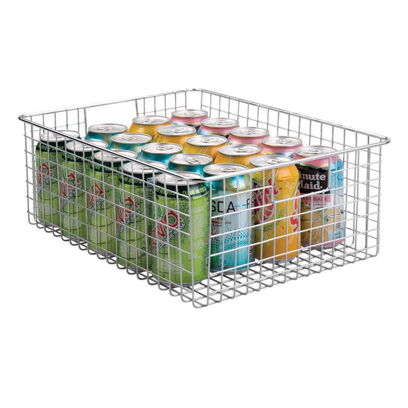 Wide Metal Wire Kitchen Pantry Food Storage Basket