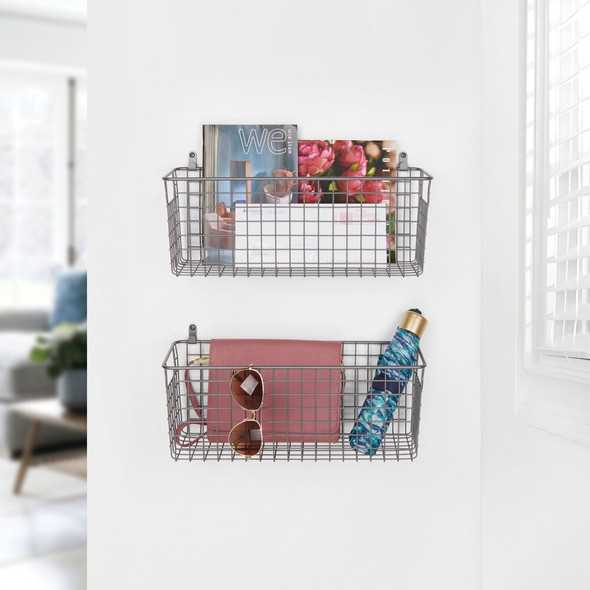 "Medium Metal Wire Wall Mount Storage Basket - 16"" x 6"" x 6"""