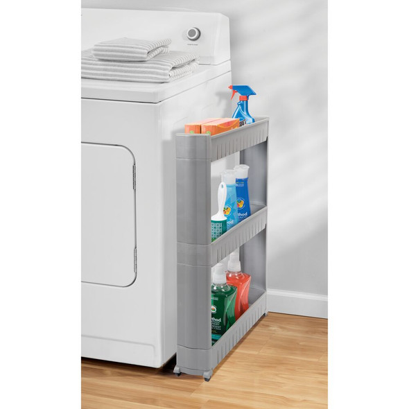 Slim 3-Tier Rolling Laundry Cart Utility Shelf