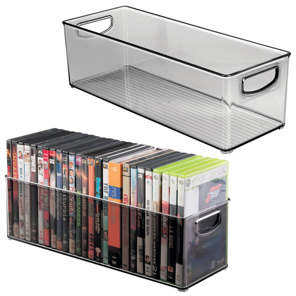 "Stackable Storage Organizer Bin for DVDs, Video Games - 16"" x 6"" x 5"""
