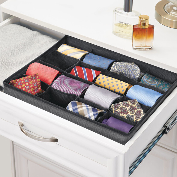 16 Compartment Fabric Divided Drawer Organizer