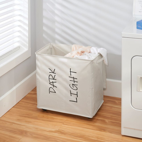 2 Section Folding Fabric Drawstring Laundry Hamper with Wheels