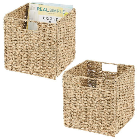 Natural Woven Storage Cube Basket Bins - Pack of 2