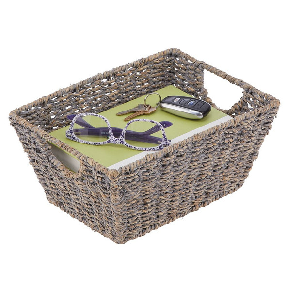 """Natural Woven Storage Cube Basket With Handles - 9"""" x 12"""" x 6"""""""