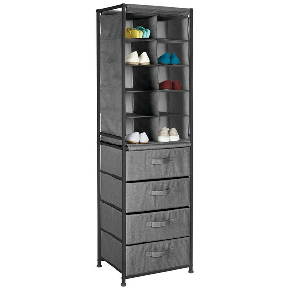 Tall Fabric Storage Table Shoe Organizer - Vertical Dresser Cabinet