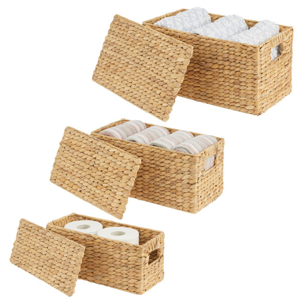 Natural Woven Hyacinth Storage Baskets with Lid - Set of 3