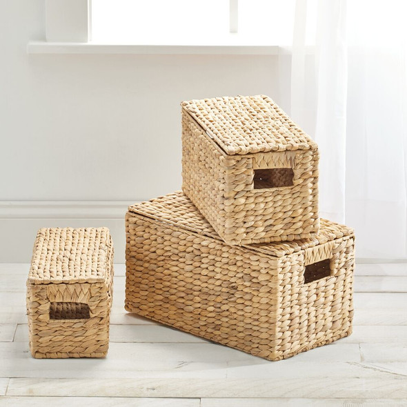 Natural Woven Hyacinth Storage Baskets with Lid, Set of 3