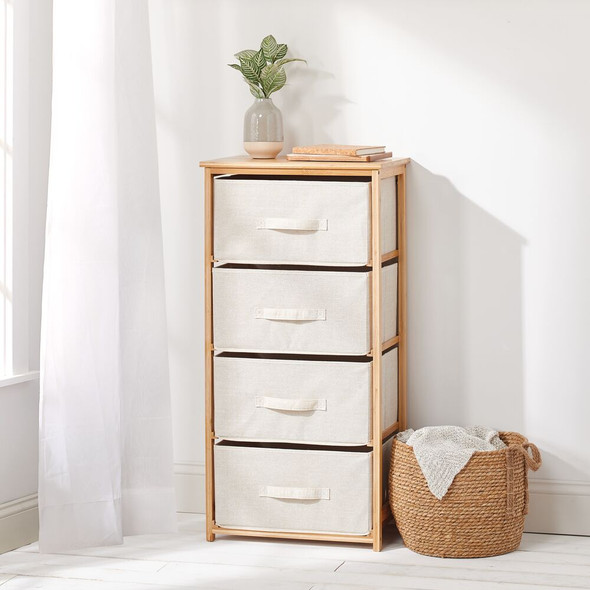 4 Drawer Bamboo Dresser Table Organizer Unit with Fabric Drawers