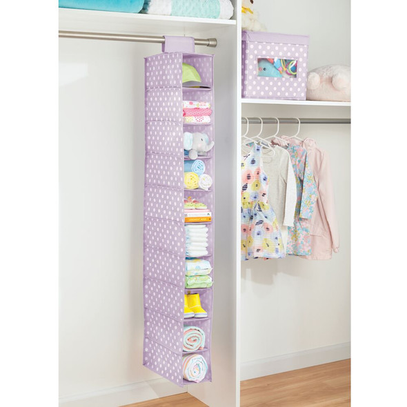 10 Shelf Fabric Kid Hanging Closet Nursery Organizer, Purple/White