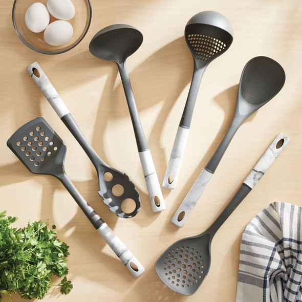 Kitchen Utensil Set in Gray/Marble Pattern - Set of 6