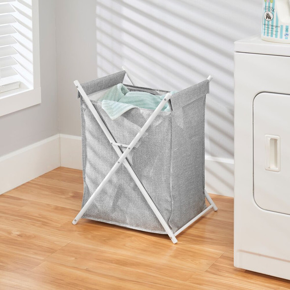 Collapsible Metal/Fabric Laundry Hamper - Gray/White