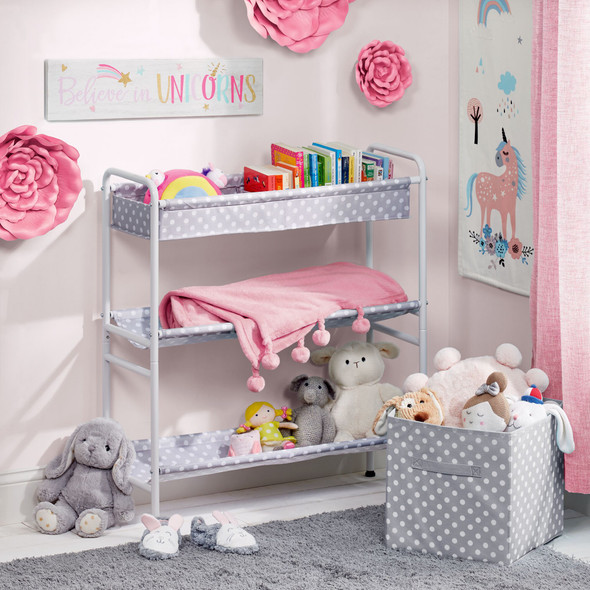 3-Tier Metal and Fabric Storage Cart