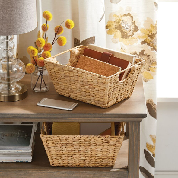 Natural Woven Hyacinth - Storage Cube Basket Bins