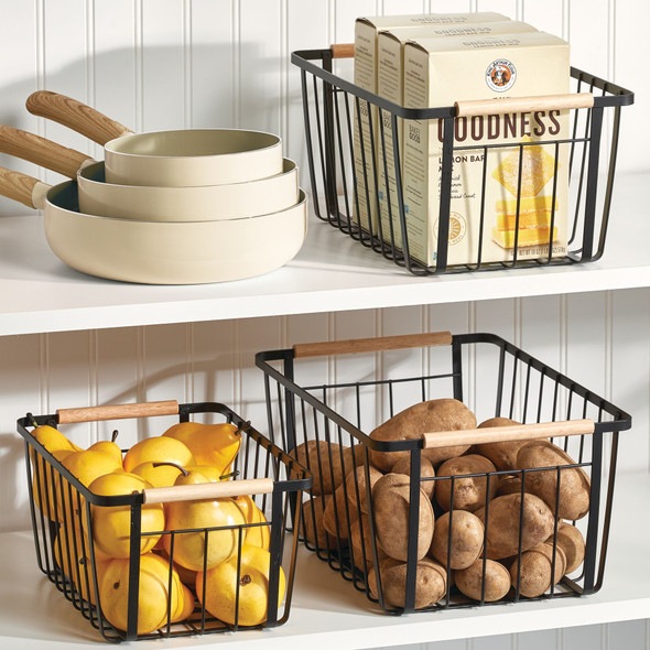 Metal Storage Organizer Basket with Wood Handles