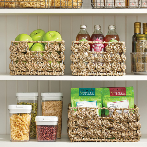 Natural Woven Seagrass Storage Baskets - Pack of 3