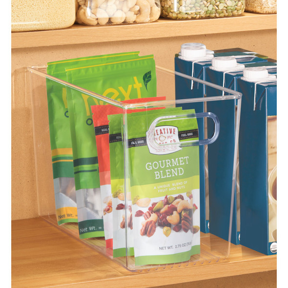 "Plastic Kitchen Pantry Food Storage Organizer Bin - 12"" x 6"" x 8"""