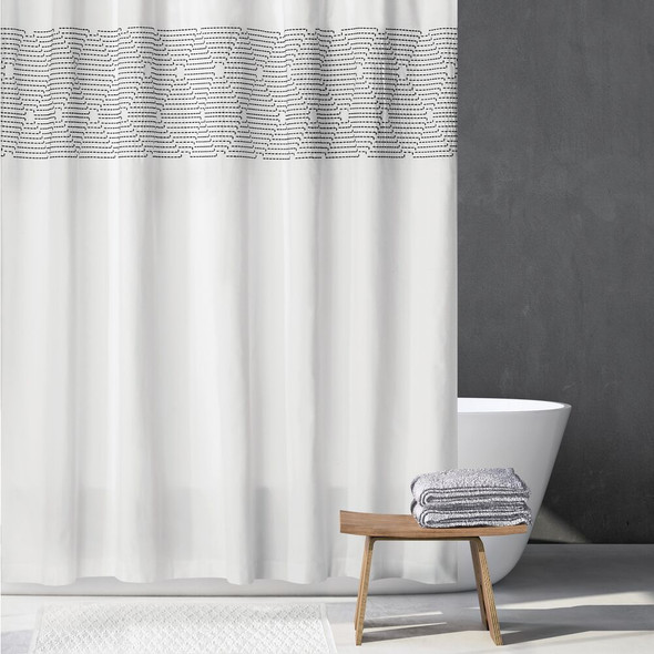 """Striped Embroidered Cotton Shower Curtain, 72"""" x 72"""""""