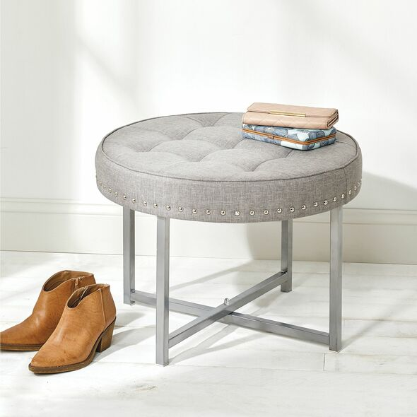 Round Padded Stool with Studs