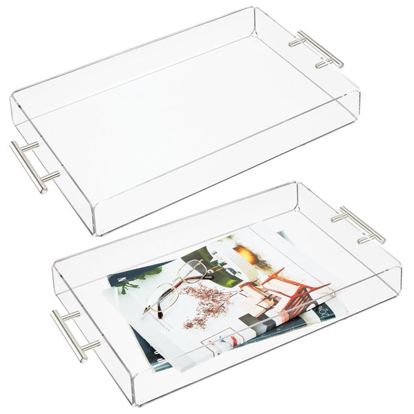 Acrylic Rectangular Serving Tray with Handles, Pack of 2