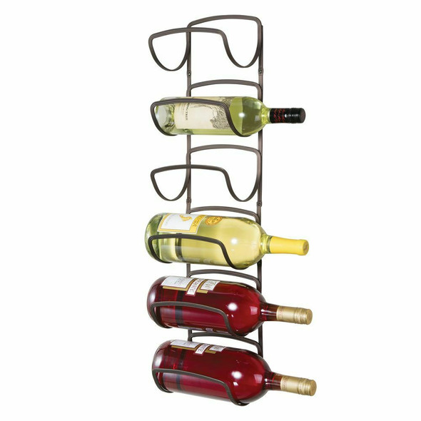 6-Bottle Metal Wall Mount Wine Rack Organizer