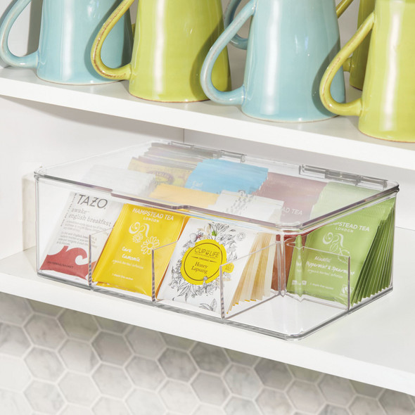 Plastic Tea Bag-Holder and Condiment Accessory Organizer Box