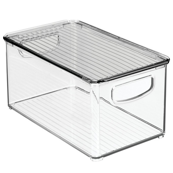 "Plastic Kitchen Pantry Food Storage Box with Lid - 10"" x 6"" x 5"""