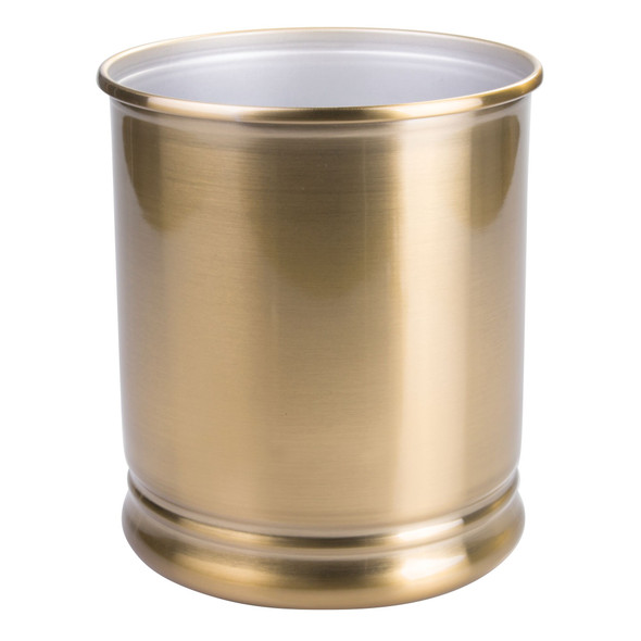 Small Modern Metal Round Trash Can Garbage Bin - Soft Brass