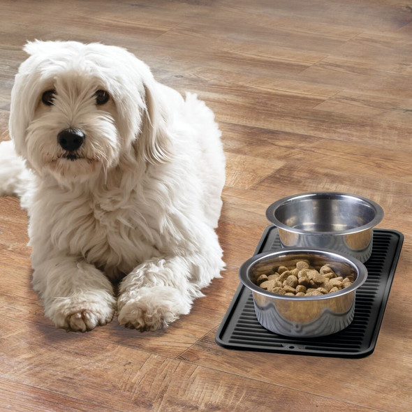 """Small Silicone Pet Food and Water Bowl Mat - 8"""" x 16"""""""