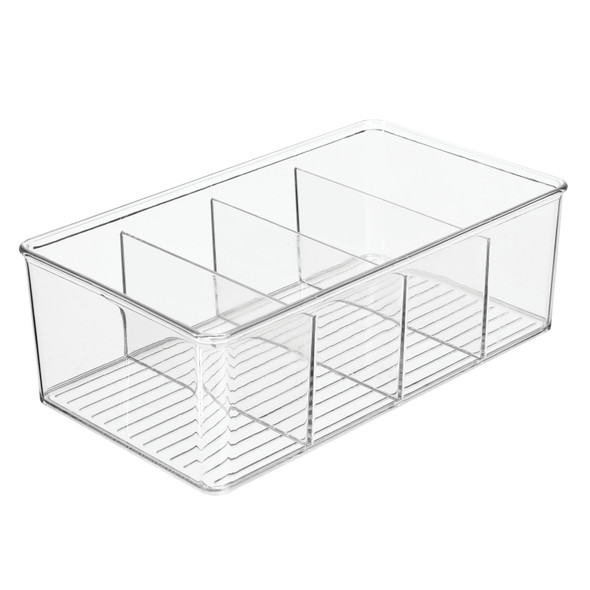 "4 Section Kitchen Pantry Food Storage Organizer Bin - 6"" x 10.5"" x 3.5"""