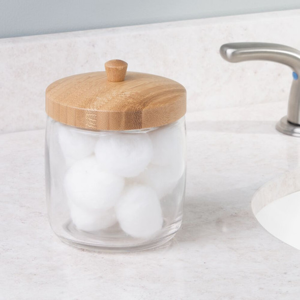 Glass/Bamboo Bathroom Vanity Storage Canister Jar