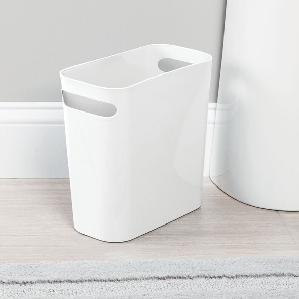 "10"" High Plastic Slim Trash Can Garbage Bin - White"
