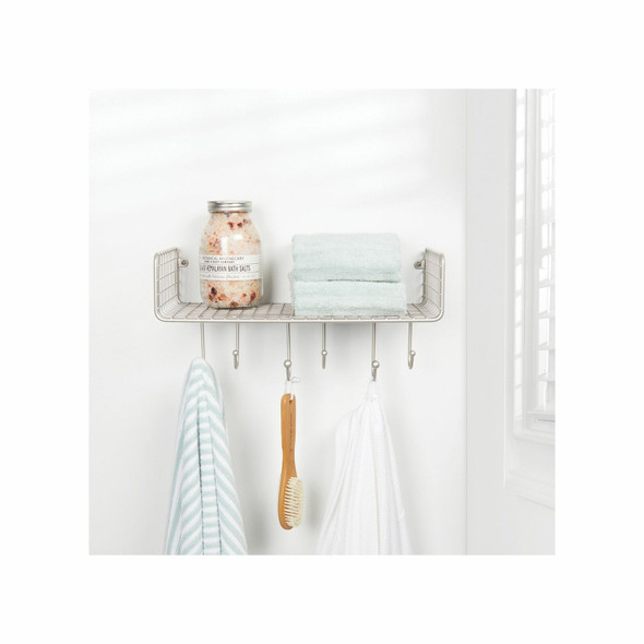 Large Metal Wire Wall Mount Bathroom Storage Shelf with 6 Hooks