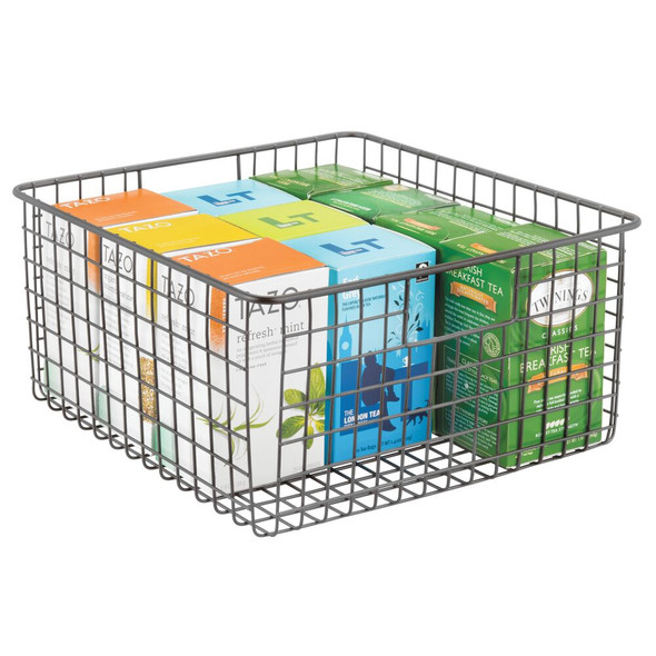 "Metal Wire Kitchen Pantry Food Storage Basket - 12"" x 12"" x 6"""