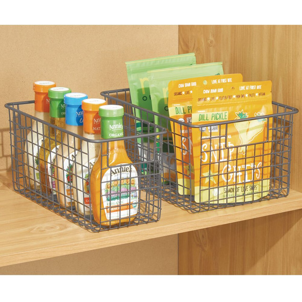 "Deep Metal Wire Kitchen Pantry Food Storage Basket - 12"" x 6"" x 6"""