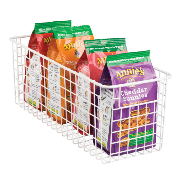 "Metal Wire Kitchen Pantry Food Storage Basket - 16"" x 6"" x 6"""