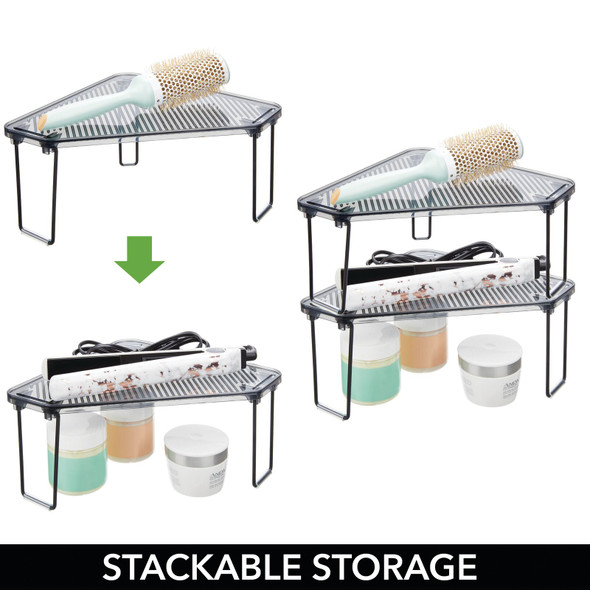 Plastic Corner Bathroom Vanity Counter Storage Shelf