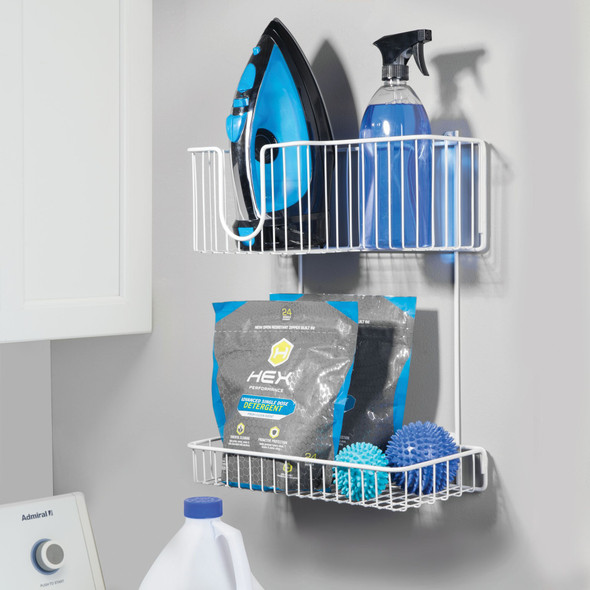 2 Tier Wall Mount Iron Holder Laundry Storage Basket