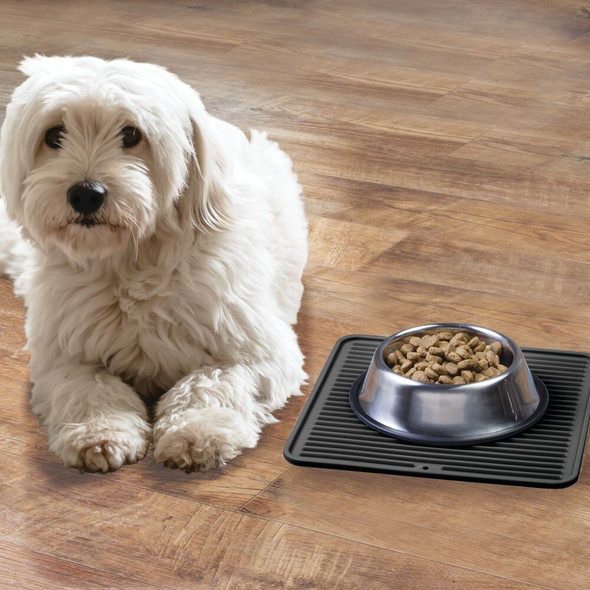 Medium Silicone Pet Food and Water Bowl Mat for Dogs - Black