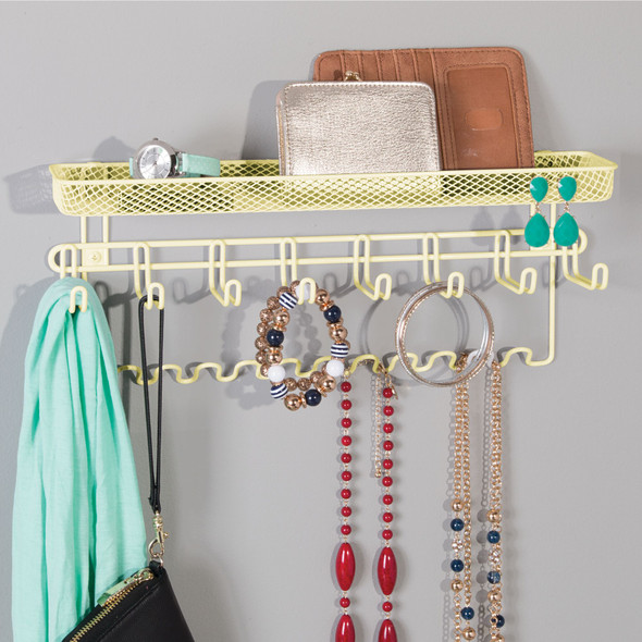 Wall Mount Accessory + Jewelry Organizer Storage Rack