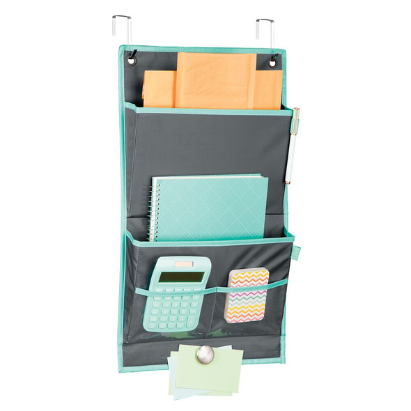 Cubicle Fabric Hanging Home Office Desk Organizer - Gray/Teal