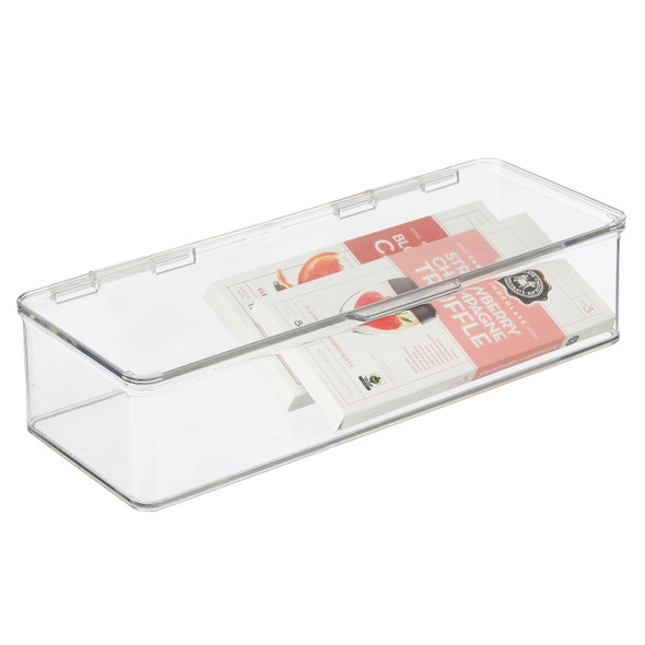 Clear Plastic Kitchen Pantry Food Storage Bin Box, 2.4 Q