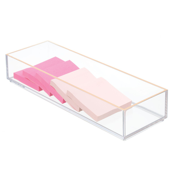 "Makeup Drawer Organizer  in Clear/Rose Gold - 12"" x 4"" x 2"""