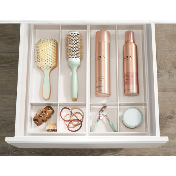 """4 Section Plastic Cosmetic Drawer Organizer Tray - 16"""" x 8"""" x 2"""""""